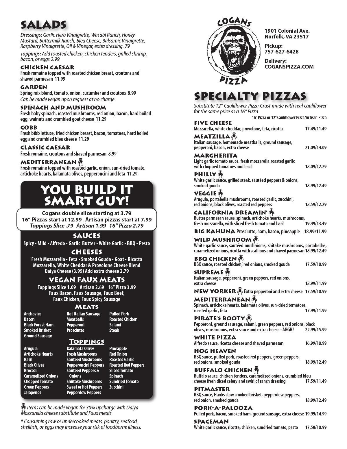 Cogans Pizza Ghent Menu