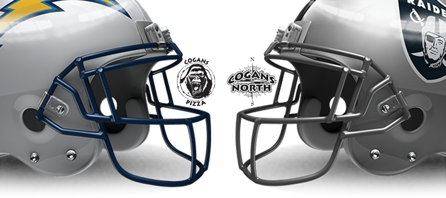 Chargers vs Raiders Tomorrow @ Cogans!