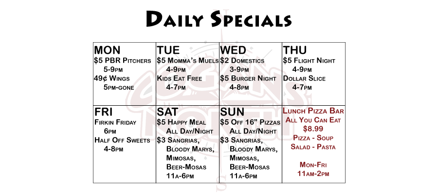 Cogans North Daily Specials