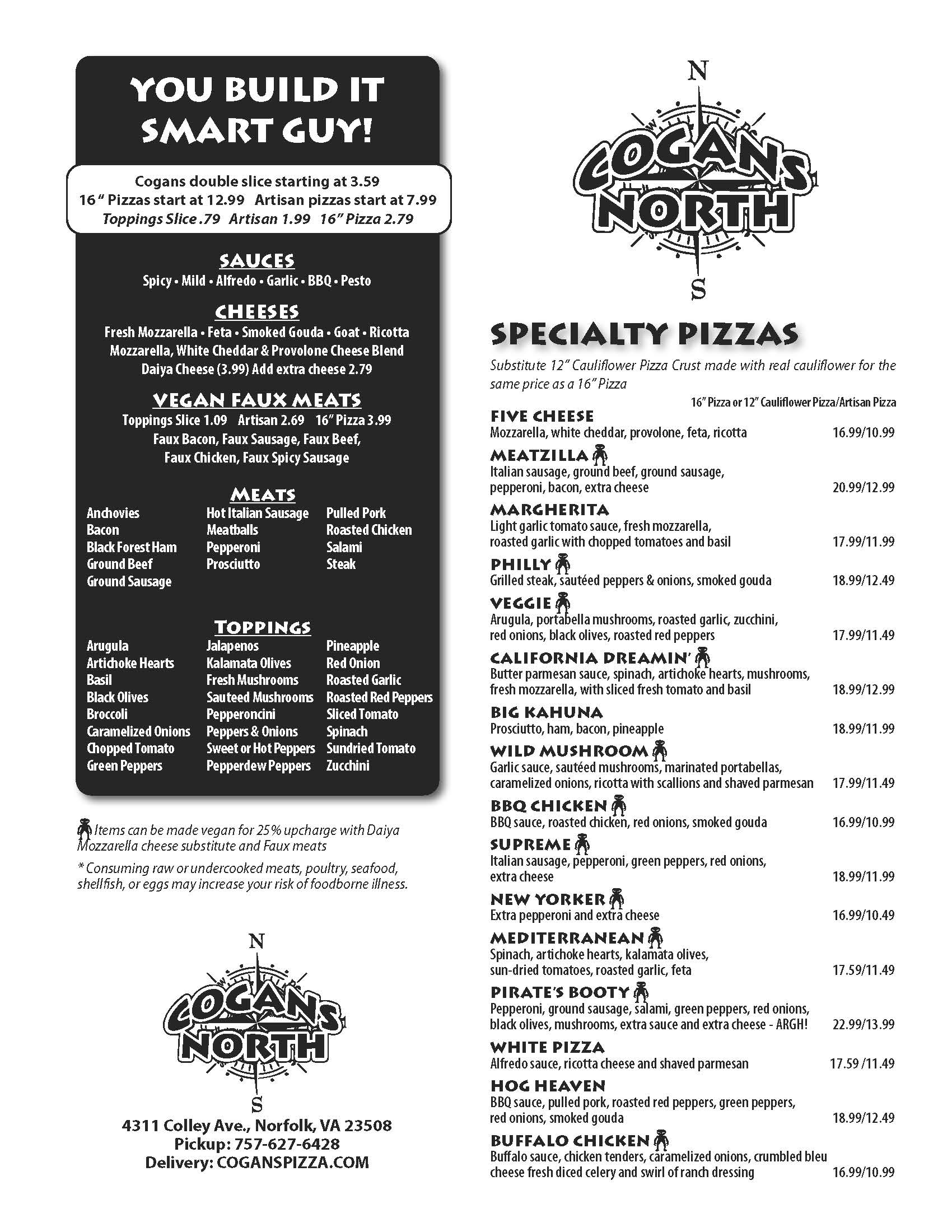 Cogans Pizza North Menu
