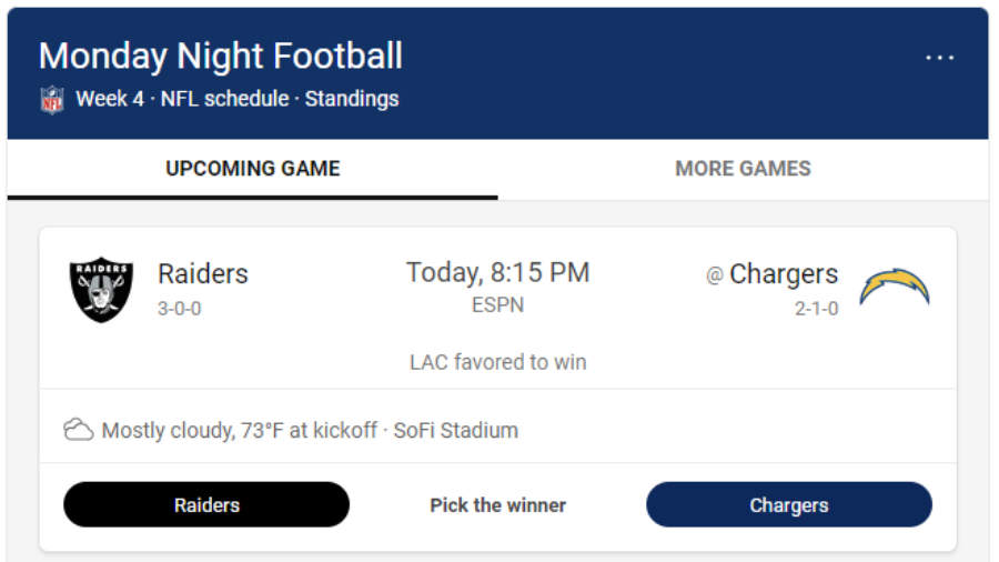 Raiders vs Chargers at Cogans