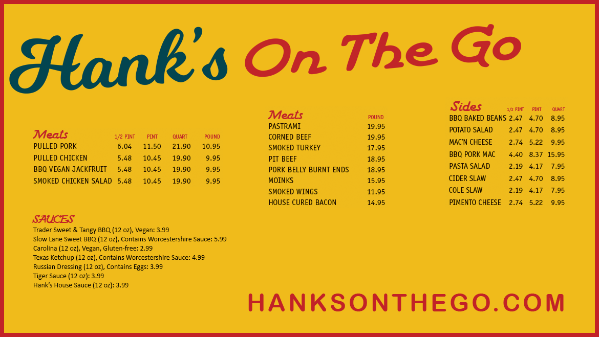 Hank's On The Go menu board