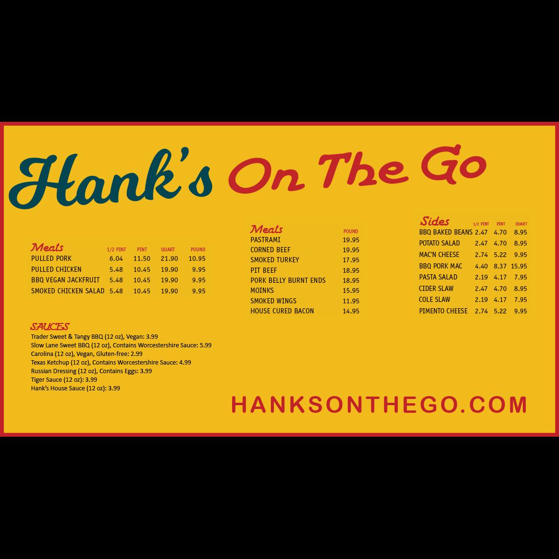 Hank's On The Go menu